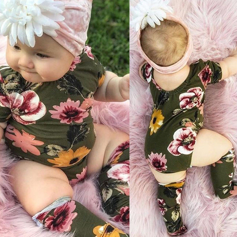 Pudcoco Girl Jumpsuits 0-18M USA Newborn Baby Girls Floral Romper Jumpsuit+Stockings Outfits Clothes