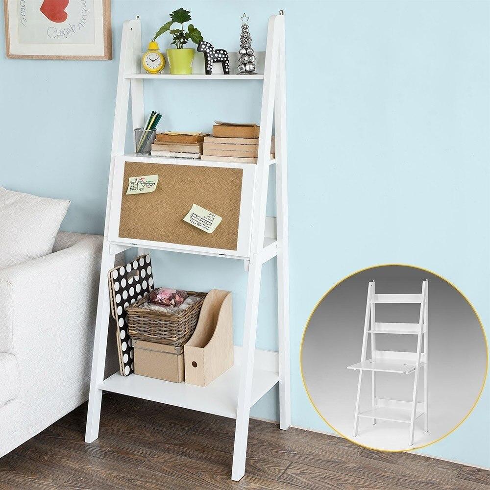 SoBuy FRG115-W Blanc présentoir de rangement Étagères étagère en forme d'échelle Bibliothèque avec Bureau/tableau-mémo et 3 Étagères