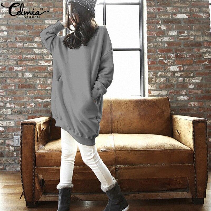 2018 Celmia Oversized Sweatshirt Dress Women Autumn Winter Warm Batwing Sleeve Pullovers Tops Pockets Casual Loose Vestidos 5XL
