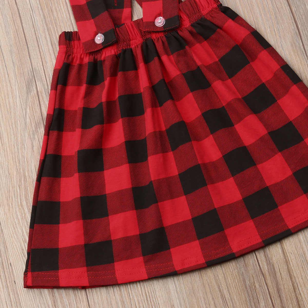ילדות קטנות צלב רצועת שמלת יילוד תינוקת משובץ סרבל שמלות בגימור תלבושות בגדי 2 יחידות סט 1-6 t