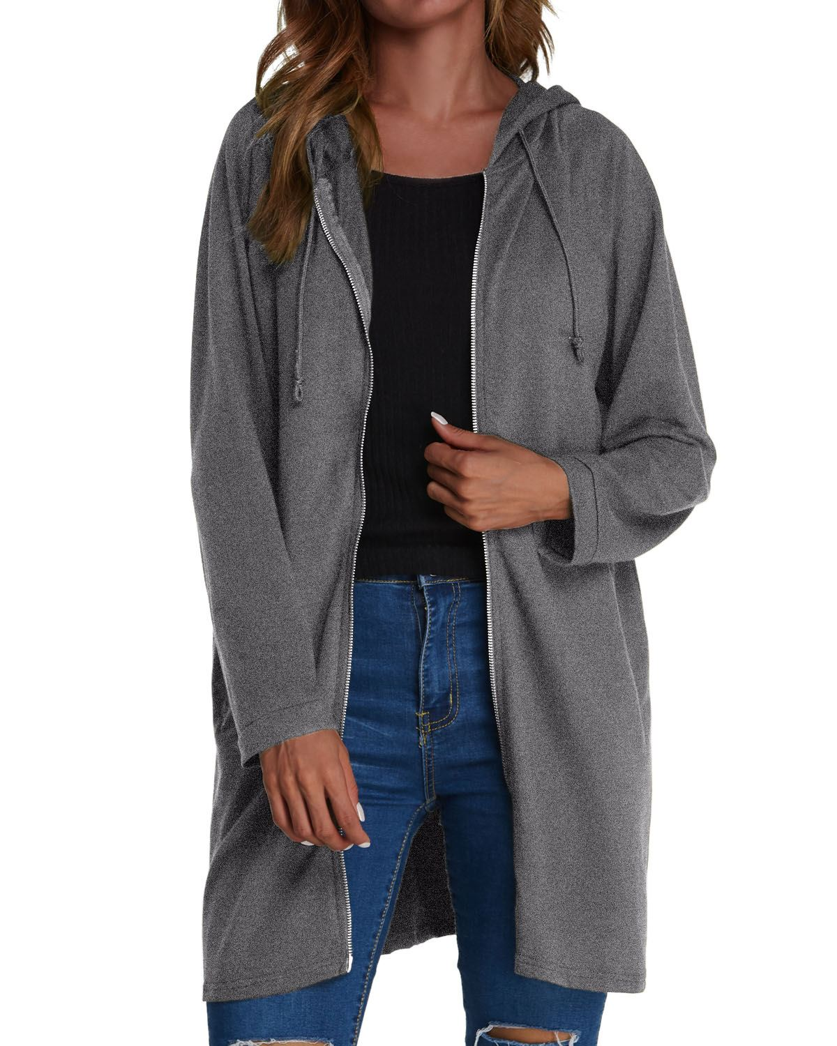 Women   Trench   Coats ZANZEA 2019 Spring Autumn Casual Straight Hooded Long   Trench   Solid Color Zipper Pockets Cardigan Coats Female