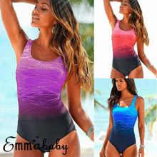 Summer Swimwear Women Sling Backless One Piece Slim Swimsuit Multi-choice Solid Bathing Suits Bikini Padded Beachwear Gradation