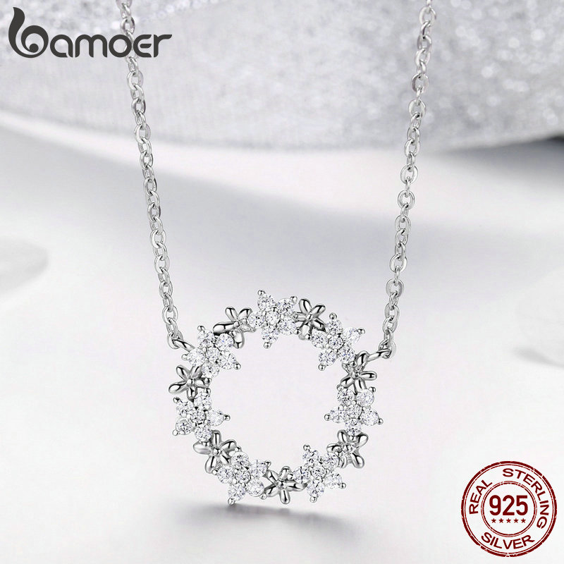 BAMOER Elegant 925 Sterling Silver Shining Stackable Star Round Shape Pendants Necklaces Women Wedding Jewelry Collar BAMOER Elegant 925 Sterling Silver Shining Stackable Star Round Shape Pendants Necklaces Women Wedding Jewelry Collar BSN028