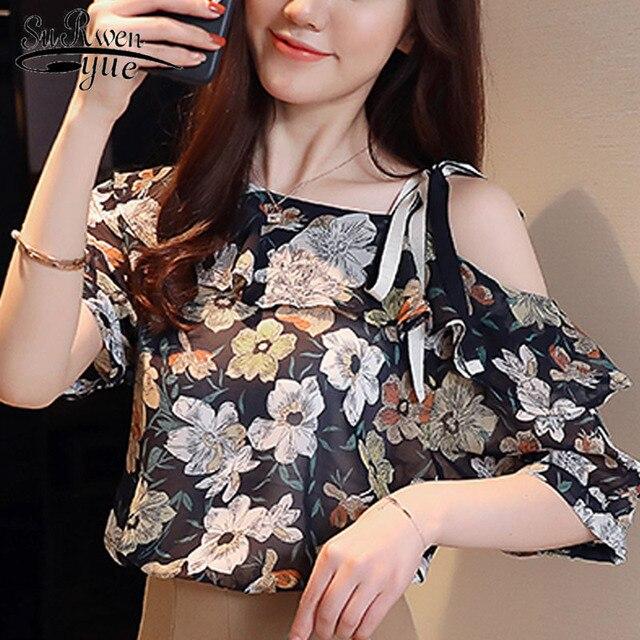 2019 אופנה קצר שרוולים נשים חולצות שיפון חולצה כבוי כתף נשים חולצות בגדי blusa feminina D815 30