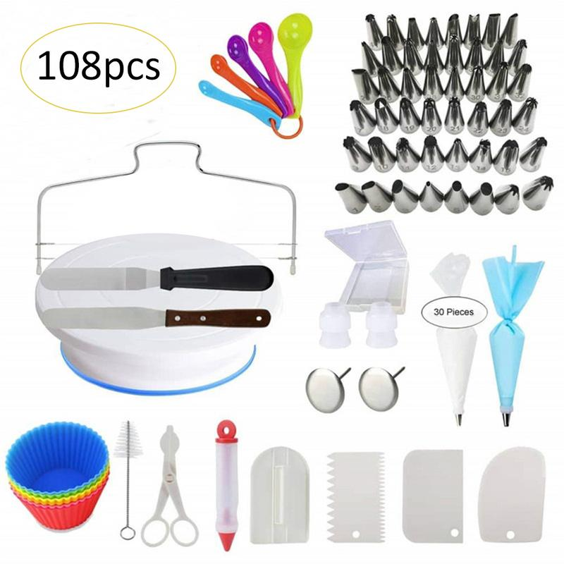 108 Piece Stainless Steel Cake Decorating Supplies Turntable Piping Tip Nozzle Pastry Nozzles Bag Set DIY Cake Baking Tool