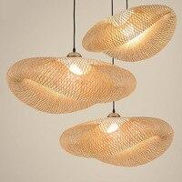Nordic светодиодный деревянная свисающая лампа Bamboo Кухня светильники светодиодный подвесной светильник Подвеска домашние Обеденная висит св