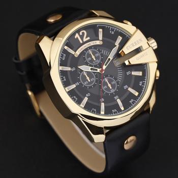 Curren 8176 남자 시계 톱 브랜드 럭셔리 골드 남성 시계 패션 가죽 스트랩 야외 캐주얼 스포츠 손목 시계 큰 다이얼