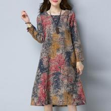 2019 new Dress Fashion Women Long Sleeve O Neck Pocket Dress Cotton Linen Printed Loose Casual Dress women