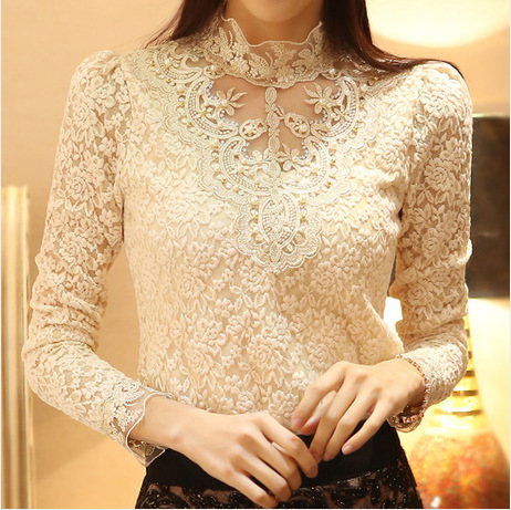 New Women Sexy Embroidery Lace Blouse Feminine Stand Neck Long Sleeve Shirt Plus Size 3XL Blouse Tops