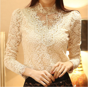 New Women Sexy Embroidery Lace Blouse Feminine Stand Neck Long Sleeve Shirt Plus Size 3XL Blouse Tops lace panel blouse