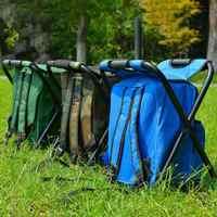 Bolso plegable impermeable de la silla de la pesca del Camping mochila del taburete con la bolsa de Picnic aislada del refrigerador bolso de la Mesa del asiento del camuflaje del senderismo