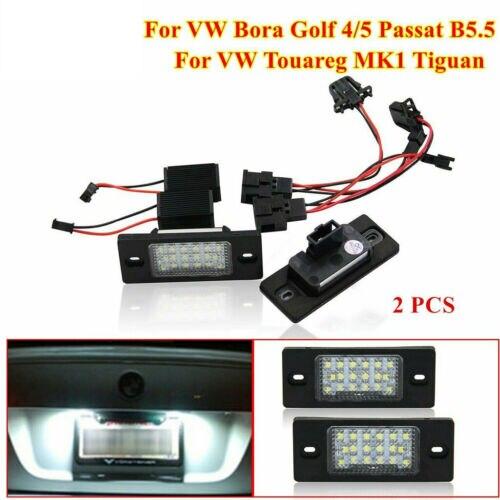 Para vw bora golf 4/5 passat b5.5 3bg touareg mk1 tiguan led luzes da placa de licença