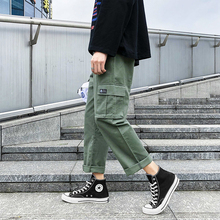 Spring New Tooling Wind Pants Men Fashion Solid Color Straight Casual Trousers Man Streetwear Hip Hop Loose Overalls S-2XL