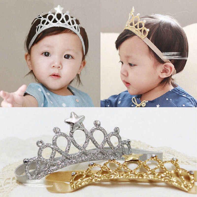 Nieuwe Mode Pasgeboren Baby Baby Boy Meisje Hoofdband Verjaardag Kroon Goud Zilver Haarband Accessoire
