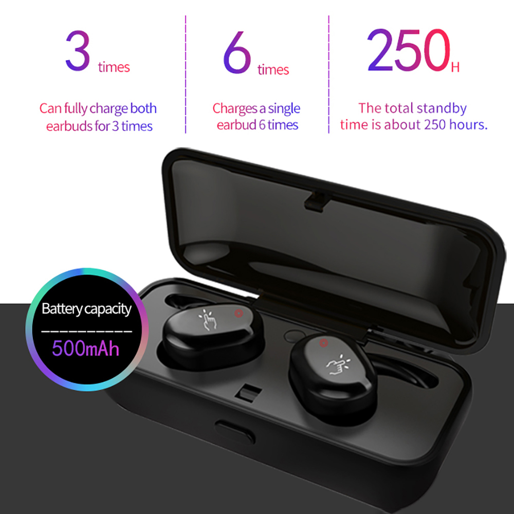 Wireless Bluetooth Headphone car kit power bank Charger Case V5.0 Mini TWS Earbuds With Mic For Mobile Phone Sports Earphone