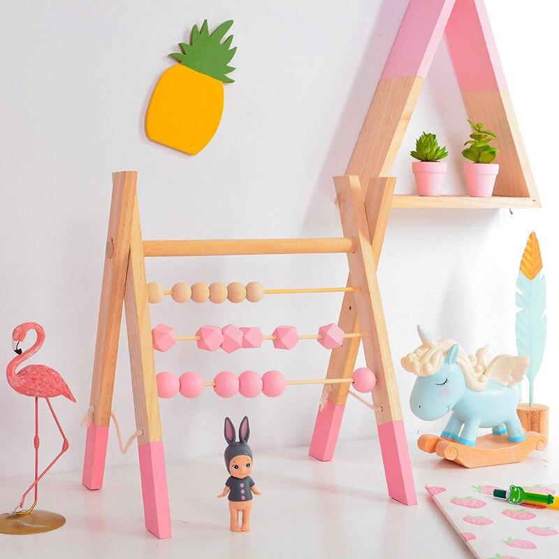 LM classique en bois éducatif comptage jouet Triangle étagère murale en bois boulier enfants début des mathématiques apprentissage jouet décor à la maison - 2