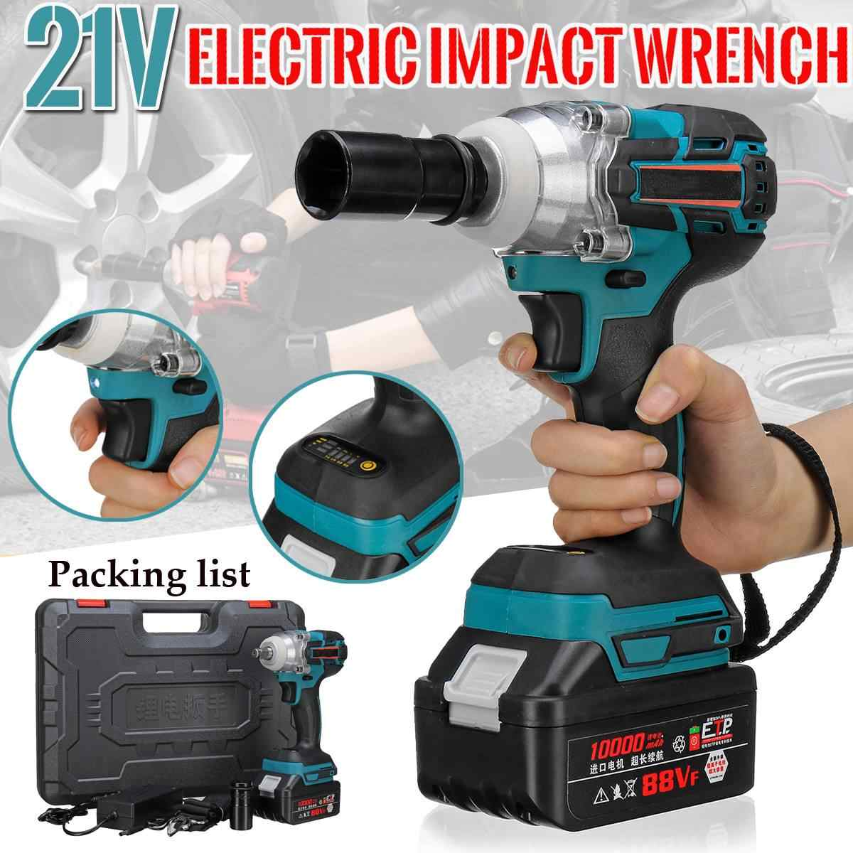 Brushless Cordless Electric Wrench Impact Socket Wrench 21V 10000mAh Li Battery Hand Drill Installation Power Tools