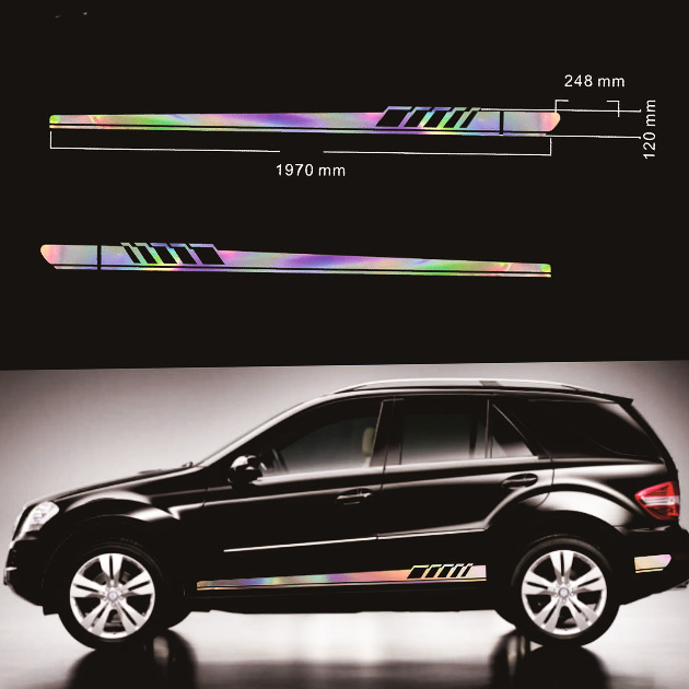 Reflective Car Auto Graphics Both Side Body Vinyl Decal Long Stripe Sticker Sports Car styling in Car Stickers from Automobiles Motorcycles