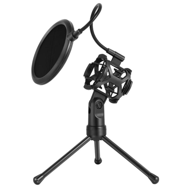 Foldable Microphone Stand Bracket Desktop Mic Tripod Holder With Shock Mount Wind Filter For Broadcast Conference Live Vedio