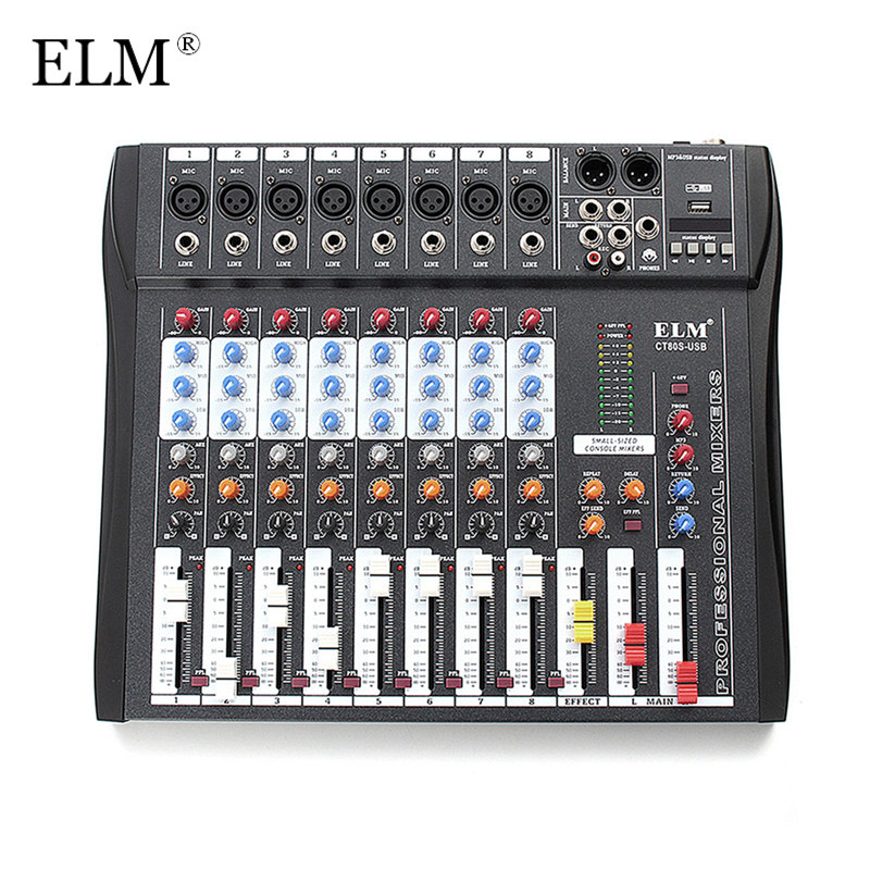 ELM 8 Channel Microphone Digital Sound Mixing Amplifier Console Professional Karaoke Audio Mixer With USB 48V Phantom PowerELM 8 Channel Microphone Digital Sound Mixing Amplifier Console Professional Karaoke Audio Mixer With USB 48V Phantom Power