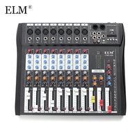 ELM 8 Channel Microphone Digital Sound Mixing Amplifier Console Professional Karaoke Audio Mixer With USB 48V Phantom Power