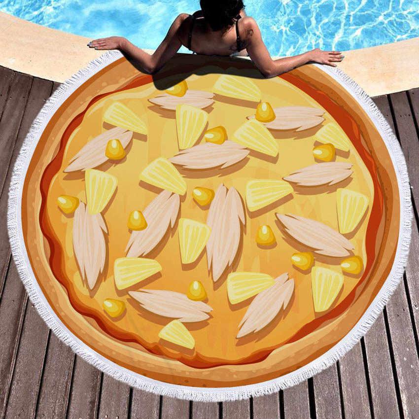 ピザラウンド夏ビーチタオルヨガマットホーム毛布海辺バス壁タペストリー女性ビキニカバーアップ Toalla 家の装飾