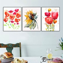 Poppy Flowers Fashion Artwork Vintage Poster Prints Oil Painting On Canvas Wall Art Murals Pictures For Girls Room Decoration