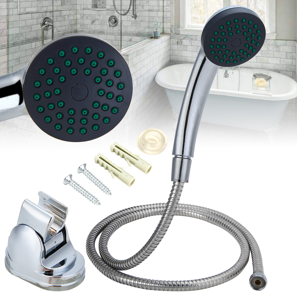 Us 7 68 30 Off 3pcs Shower Head Set Bathroom Handheld Spray Shower Head Bracket Flexible Horse Tool Set For Water Saving In Shower Heads From