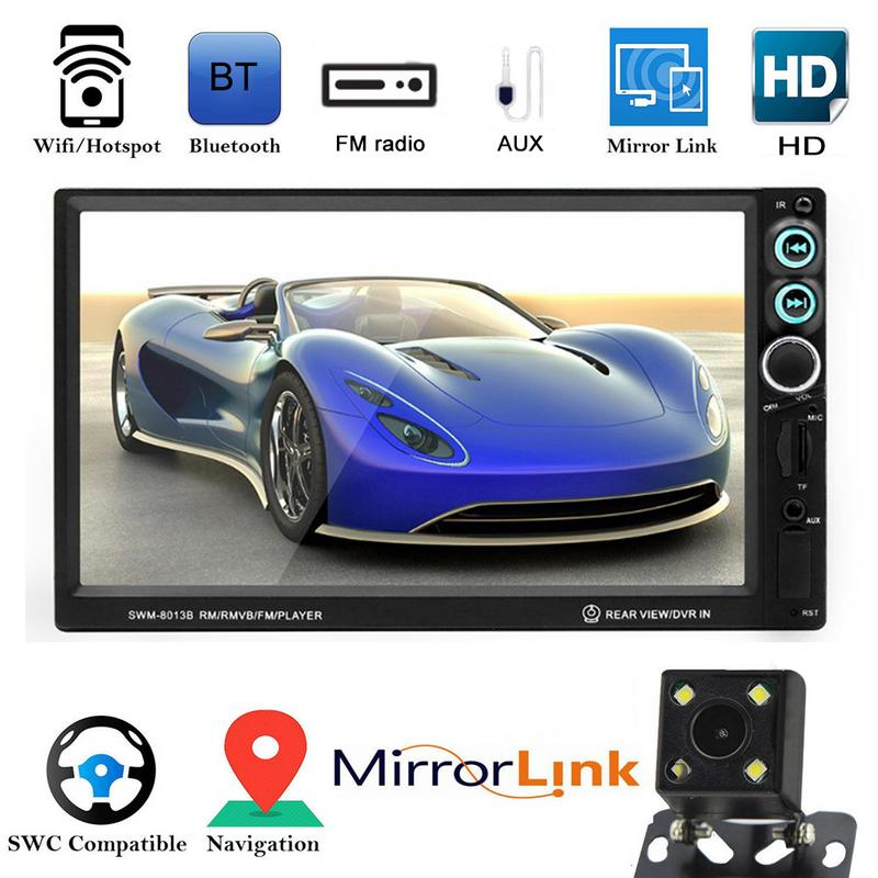 Universal Car Mounted MP5 Player HD 7 Inch Card Audio Video MP4 FM Players Wireless Remote Control AUX TF Card U Disk ISO Plug