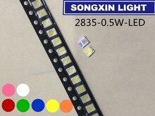 4000 pièces 2835 0.5W Ultra lumineux SMD Led valeurs rouge/vert/bleu/blanc/blanc chaud/rose/jaune doré/UV violet/Orange/bleu glace