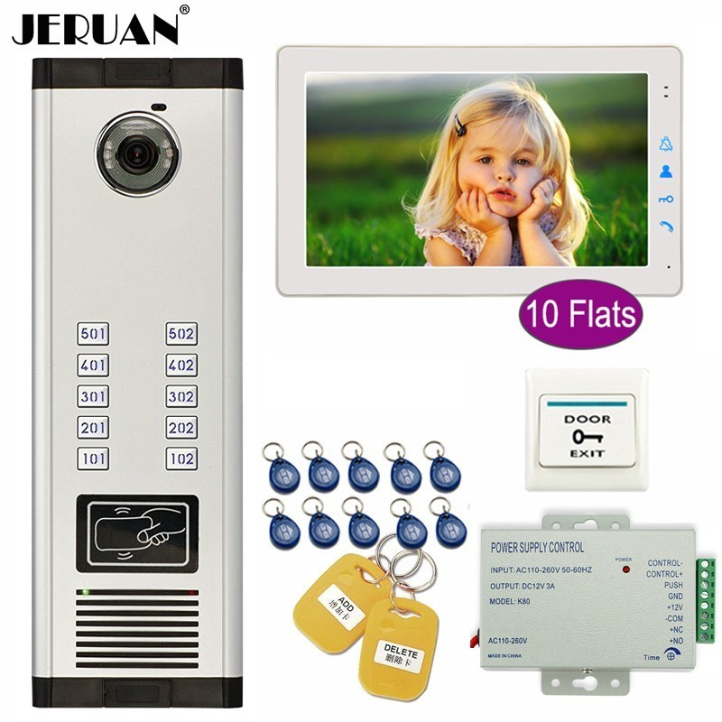 JERUAN Apartment 9 inch Color TFT Video Door Phone Intercom Access 700TVL Camera Home Gate Entry Security Kit for 10 FamiliesJERUAN Apartment 9 inch Color TFT Video Door Phone Intercom Access 700TVL Camera Home Gate Entry Security Kit for 10 Families