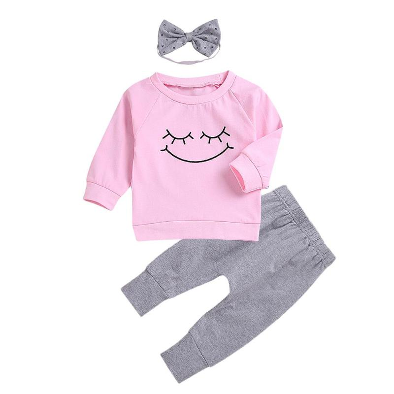 3pcs/Set Cartoon Eyes Pattern Girls Clothing Set Long Sleeve Sweatshirt +Pants+ Headband Cotton Outfits for Kids Baby Girls
