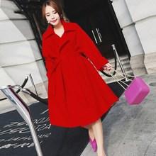 A-Line Style Winter Wool Coat For Women Warm With Belt Woolen Jacket Womens Coats Pockets European Fashionable Outerwear
