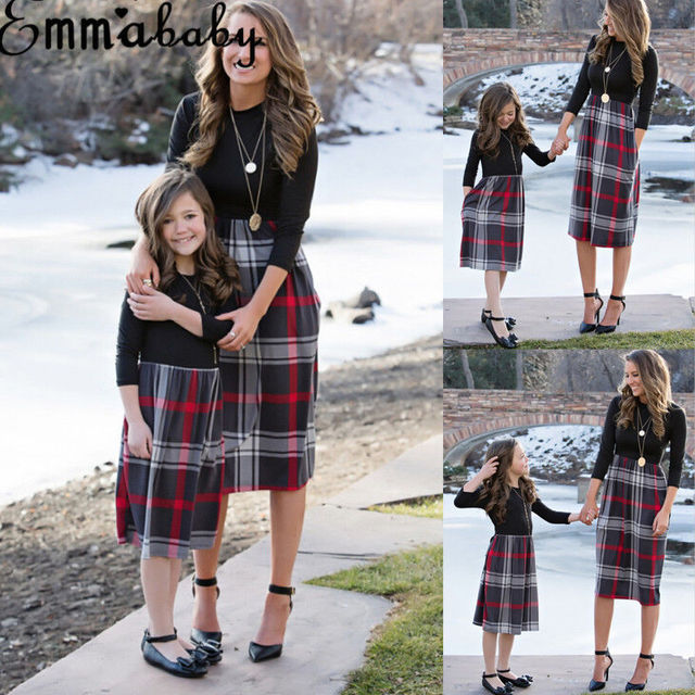 Brand New 2018 Women Family Matching Dress Fashion Mom Girls Long Sleeve Plaid O-neck Dress Mother And Daughter Clothes Newest 2