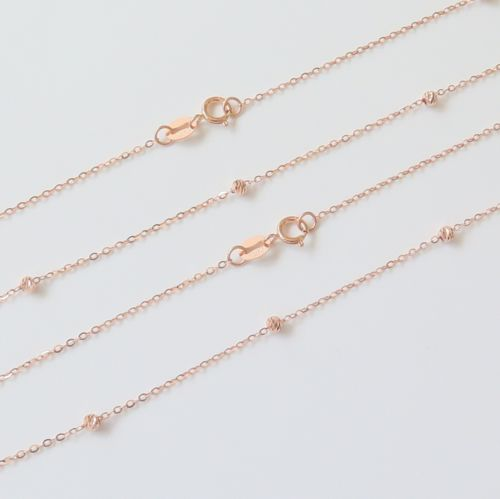 Solid 18K Rose Gold Necklace Bead with O Link Chain Necklace 17.7Solid 18K Rose Gold Necklace Bead with O Link Chain Necklace 17.7