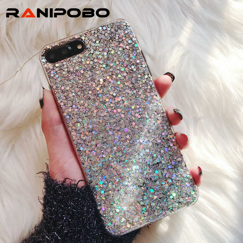 Bling Powder Soft Silicone Case For iPhone X 5 5S 6 7 8 Plus Shinning Glitter Back Cover For iPhone XR XS Max Cases Shell