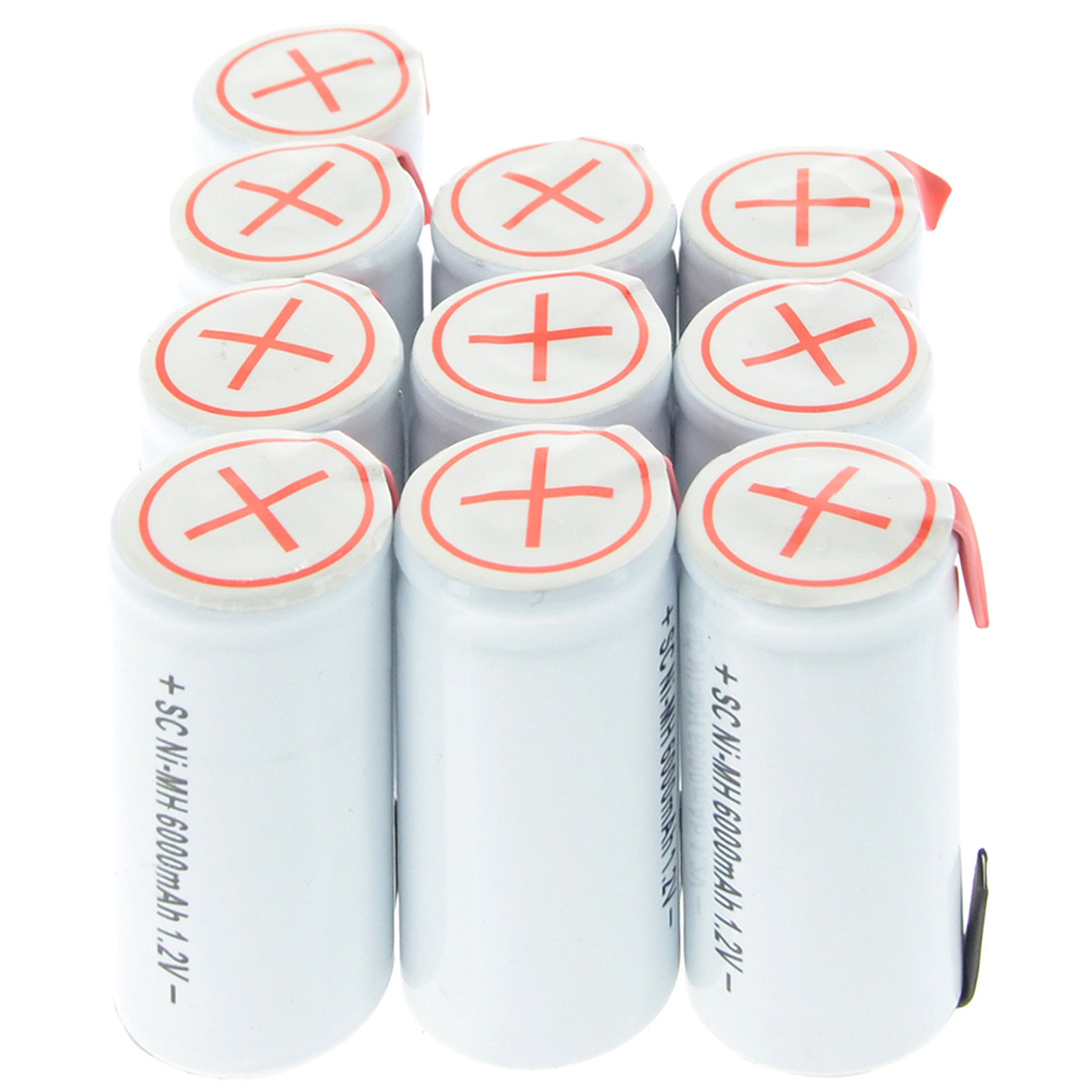 10pcs Sub C Ni-MH 6000mAh 1.2V SubC Rechargeable Battery With Tab White Color image