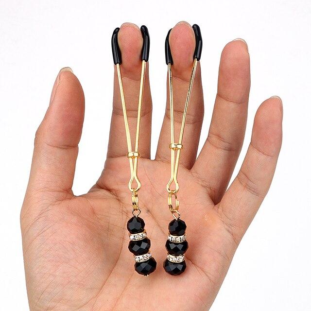 VATINE clítoris abrazadera de Clips para labios juguetes sexuales para parejas 1 par ajustable juego de adultos SM abrazaderas para pezón fetiche con joyas
