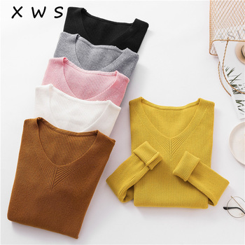 2018 big size Thick Warm Knitted Women Sweater Autumn Winter Sexy Pullover Sweater High Elasticity V-Neck Soft Female Jumper