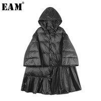 [EAM] 2019 новая весна с капюшоном с длинным рукавом черный подол плиссированные Свободные теплые пальто с хлопковой подкладкой женские парки м