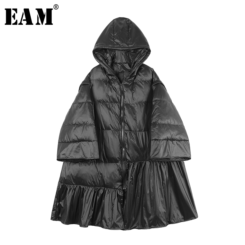 [EAM] 2019 New Spring Hooded Long Sleeve Black Hem Pleated Loose Warm Cotton-padded Coat Women   Parkas   Fashion Tide JO024
