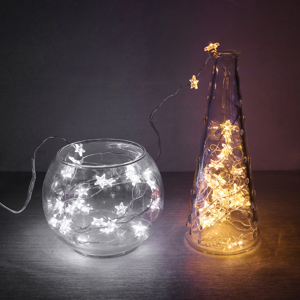 30 LED 3M Star Copper Wire String Lights LED Fairy Lights Christmas Wedding Decoration Lights Battery Operate Twinkle Lights