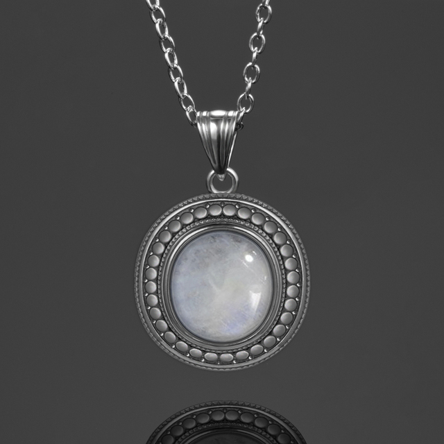 10x12MM Big Natural Moonstone 925 Sterling Silver Jewelry Pendant Necklace With Chain For Women Vintage Anniversary Party Gifts
