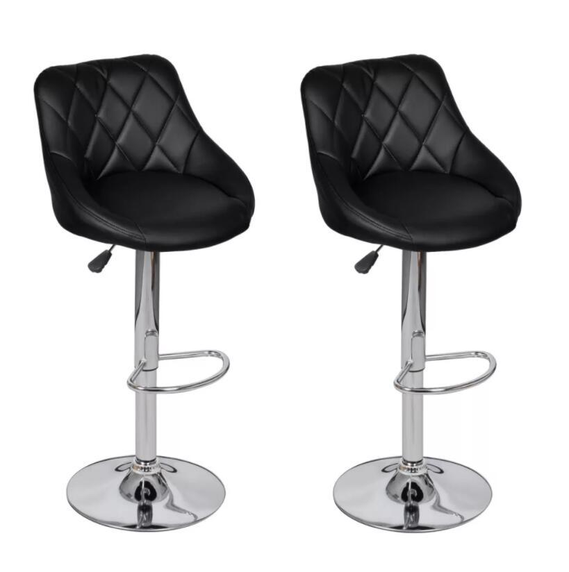 VidaXL Two Exclusive Black Bar Stools Modern Look Adjustable Bar Chairs Lift Chair High Stool Front Desk Cash Register Chair