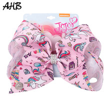 AHB 8 Large Hair Bows for Girls Unicorn Clips with Rhinestones Cartoon Print Ribbon Hairgrips Kids Party Accessories