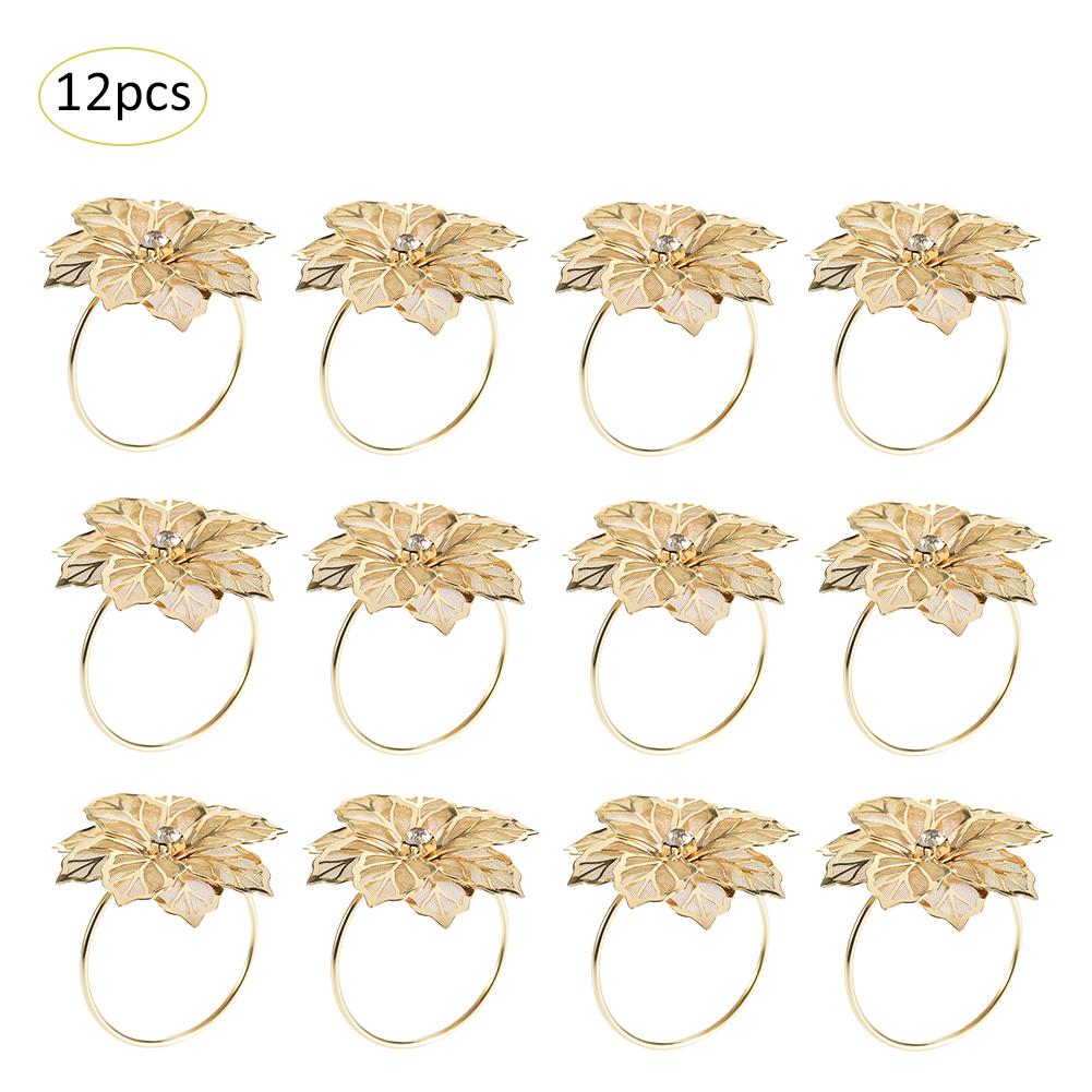 12pcs/set Alloy Flower Design Napkin Rings For Wedding Receptions Gifts Holiday Banquet Dinner Christmas Table Decoration