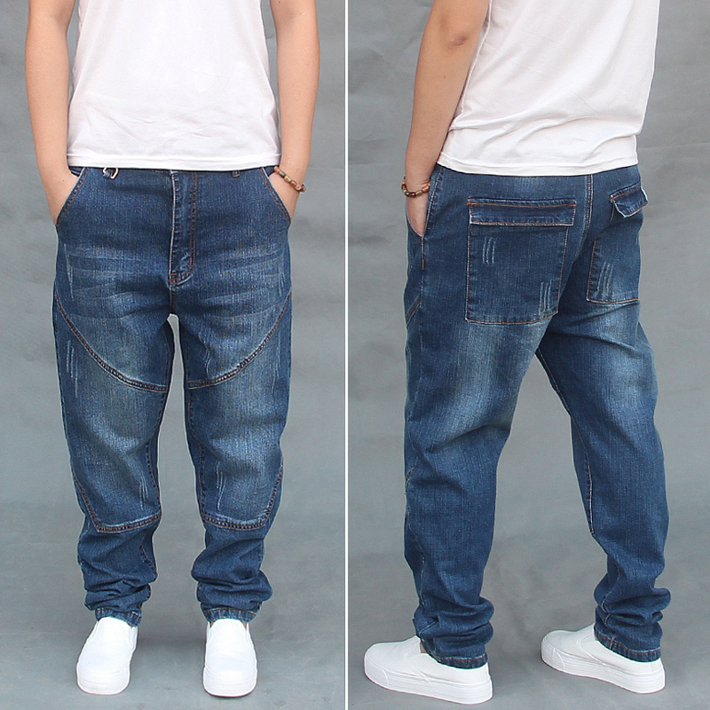 Male Low Drop Crotch Denim Harem Pants Hip Hop Street Dance Jean Trouser Men Loose Baggy Skateboard Sweatpants Joggers FSH07
