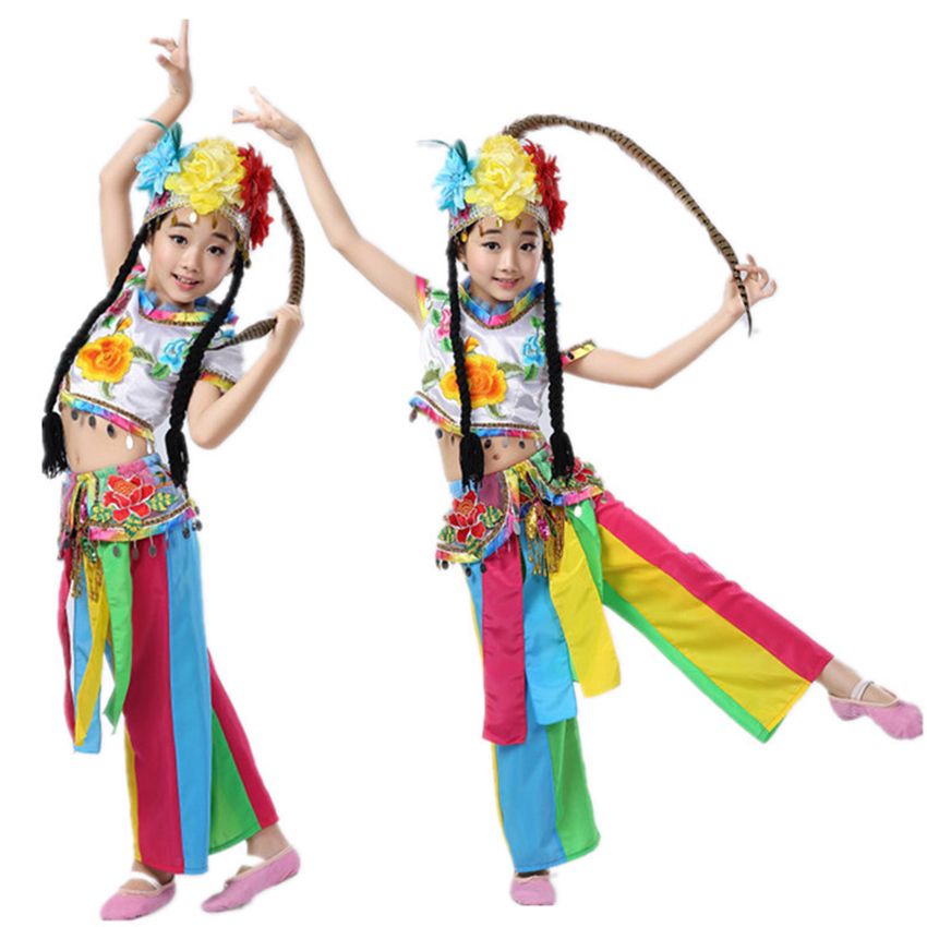 Miao National Dance Costume for Girl Traditional Chinese Clothes Performance Clothing Vintage Ethnic Colorful Festival Outfit