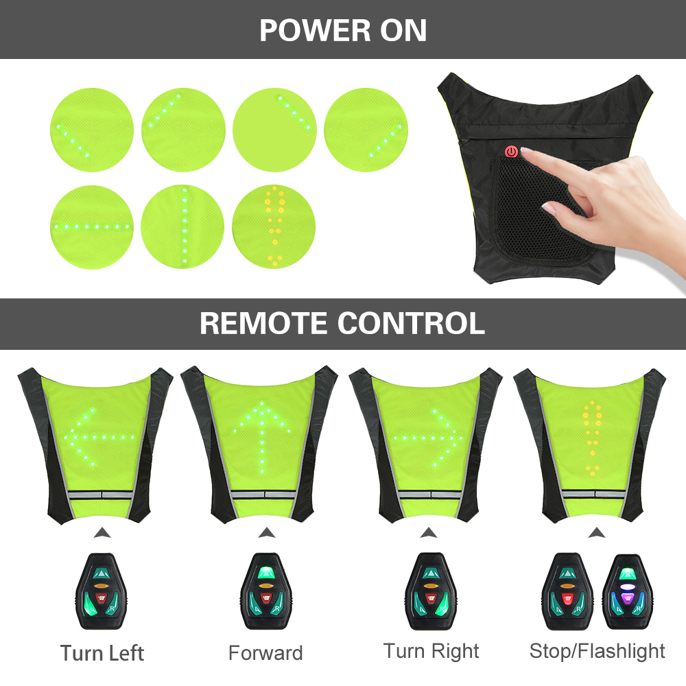 Lixada Bike Bag Usb Reflective Vest Backpack With Led Turn Signal Light Remote Control Sport Safety Bag Gear For Cycling Buy One Give One Back To Search Resultssports & Entertainment Bicycle Accessories