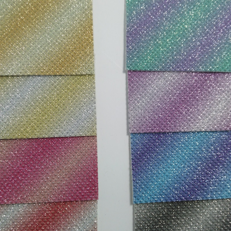 91x90cm Synthetic Leather,  Vinyl Fabric, Rainbow Diamond Glitter Leather Fabric for Bows DIY accessories P2263